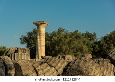 Ruins of the ancient Temple of Zeus, Olympia, Greece