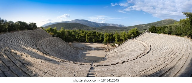Ruins of the Ancient Theatre of Epidaurus  located on the southeast end of the sanctuary dedicated to the ancient Greek God of medicine, Asclepius. Epidaurus, Peloponnese, Greece