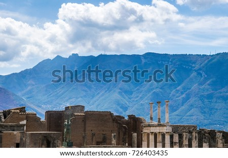 Ruins Ancient Town Columns Beautiful Blue Stock Photo Edit