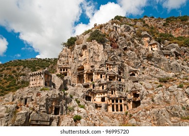 the ruins of ancient town Dolchiste on Kekova island, Turkey