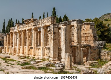 Ruins of the ancient town Hierapolis, now Pamukkale, Turkey