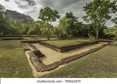 Ruins of the Ancient Watergardens with the Sigiriya Rock in the Background, Sri Lanka