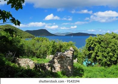 Ruins of the Annaberg Sugar Cane Plantation in the St. John, US Virgin Islands National Park