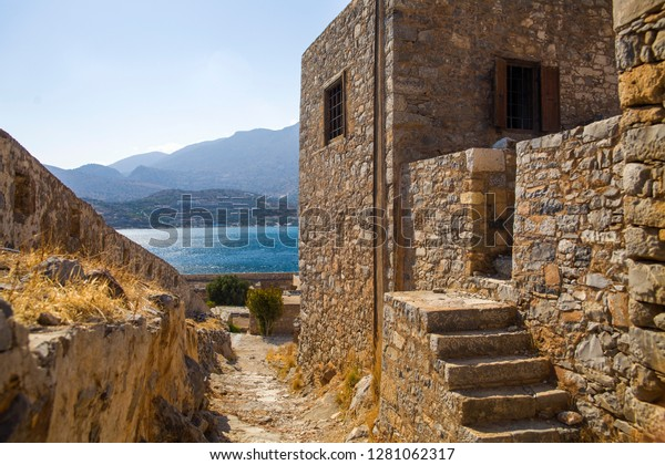 Ruins of apartments on the island of Spinalonga. Spinalonga fortress on the island of Crete, Greece.