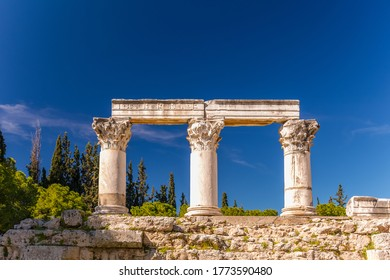 Ruins at the Archaeological Site Of Corinth with the Archaeological Museum