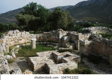 Ruins at the archaeological site of the early Christian basilica of Paleopanagia in Kalymnos island, Greece.