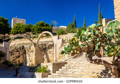 Ruins of arched gates at Santa Barbara Castle in Alicante - Spain