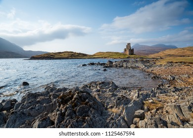 The ruins of Ardvreck Castle at Loch Assynt in the highlands of Scotland