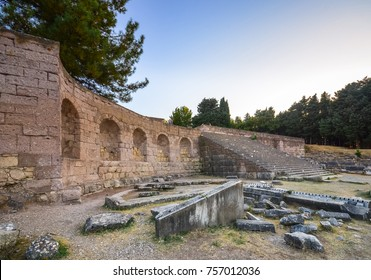 Ruins of asclepeion in Kos Greece, ancient greek temple dedicated to Asclepius, the god of medicine.