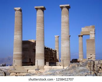 Ruins of Athena Temple in Lindos Acropolis, Rhodes island, Greece.
