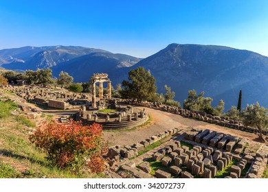 ruins Athina Pronaia temple in Ancient Delphi