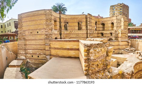 The ruins of Babylon Fortress, the main forpost of Egypt in ancient ages, located in Coptic neighborhood of Cairo, Egypt