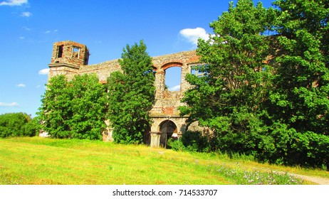 ruins of baroque palace in piekoszow, poland,