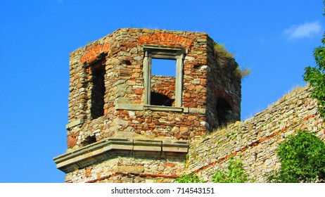 ruins of baroque palace in piekoszow, poland