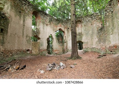 Ruins of the Baroque pilgrimage chapel of Saint Mary Magdalene on the mount Little Blanik from 1753