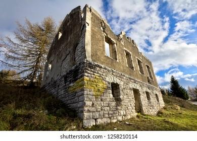 Ruins of the barracks near the Austro-Hungarian fort Dosso delle Somme-Werk Serrada (Trentino, Italy).
