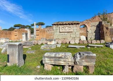 Ruins of Basilica Aemilia in Roman Forum, Rome, Italy.