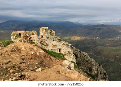 Ruins of Beaufort Castle in Lebanon with a panoramic view on valley around