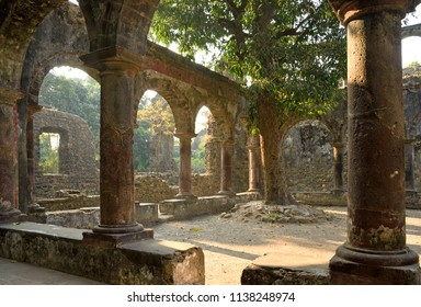 Ruins of beautiful 400 years old historical Vasai Fort near Mumbai which has a fierce and gory history of battles between muslims, portugese and maratha rulers due to its strategic location
