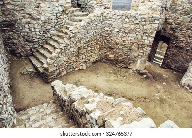 Ruins of beautiful castle Hrusov in Slovak republic, Europe. Stone stairs in the courtyard.