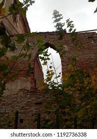 Ruins of a beautiful old red brick building and autumn leaves