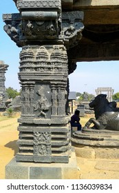 Ruins of beautifully carved temple, Fort complex, Warangal, Telangana, India