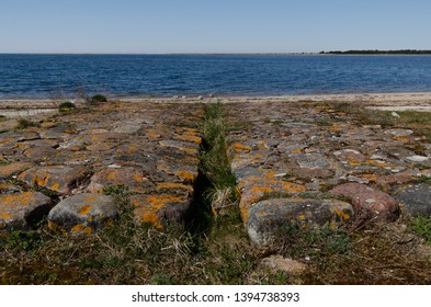 Ruins of border fortress near  Sorve lighthouse in the Baltic Sea. Saaremaa. Estonia. 05/05/2019