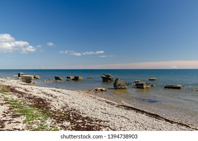 Ruins of border fortress near  Sorve lighthouse in the Baltic Sea. Saaremaa. Estonia.