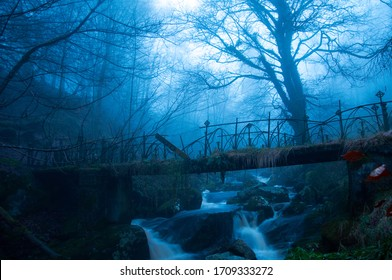 The ruins of a bridge with fog.