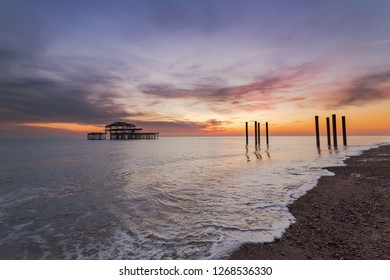 Ruins of Brighton West Pier at sunset