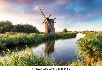 The ruins of the Brograve Windmill on the Norfolk Broads at Sea Palling