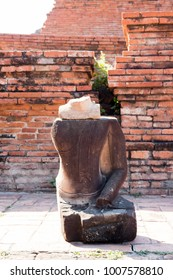 Ruins of buddha in Wat Mahathat, Ayutthaya Thailand