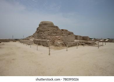 Ruins of the Buddhist Stupa at Mohenjo Daro, Sindh