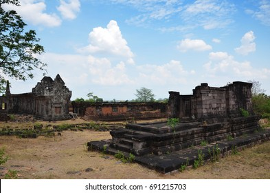 Ruins building in archaeological site at Vat Phou or Wat Phu of UNESCO World Heritage Site 10th century is a ruined Khmer Hindu temple for people visit and pray in Pakse, Champasak, Laos