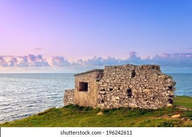 ruins of bunker near the sea