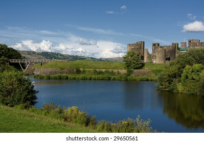 The ruins of Caerphilly Castle, Wales, United Kingdom