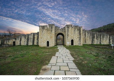 Ruins of The capital city of the First Bulgarian Empire medieval stronghold Great Preslav (Veliki Preslav), Shumen Region, Bulgaria at sunset