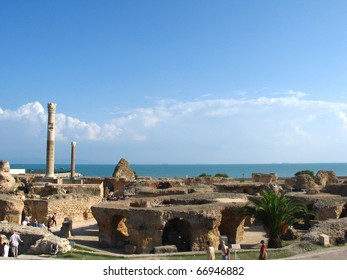 Ruins of Carthage and view to Mediterranean sea