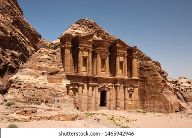 The ruins carved in the stone mountains in the landscapes of Jordan - middle east