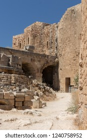 ruins of the Castle of the Acropolis of Lindos at Rhodes in Greece