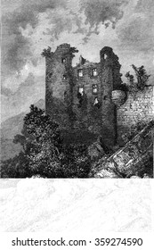 Ruins of the castle Aurouze, vintage engraved illustration. Magasin Pittoresque 1880.