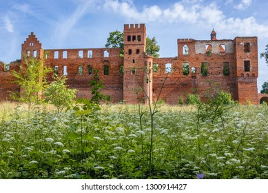 Ruins of castle built by the Teutonic Order in Szymbark, small village in Warmia and Masuria region of Poland