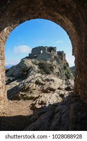 The ruins of the castle de Verdera located at the top of Sant Salvador Saverdera mountain, Spain, Catalonia, Alt Emporda, Girona