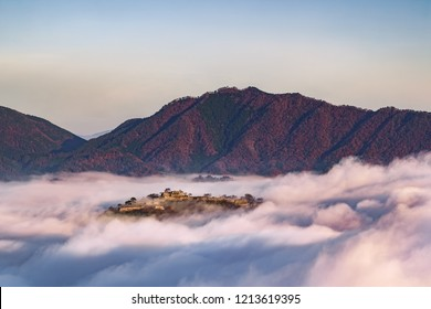 The ruins of a castle floating on a sea of clouds, Takeda Castle, Hyogo prefecture, Japan