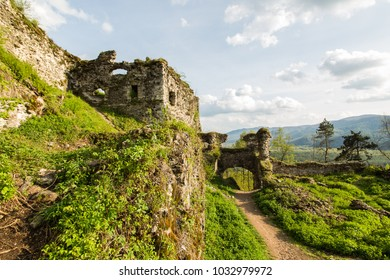The ruins of the castle in Hust, Transcarpathia, Ukraine