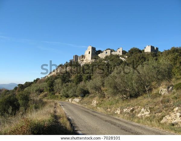 Ruins of the castle of Allègre les Fumade, Gard, France