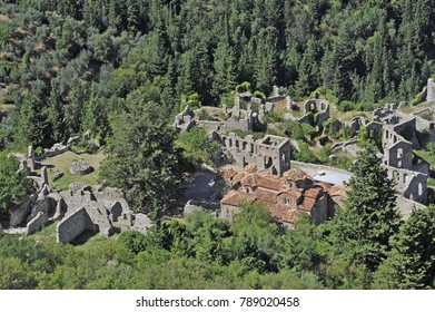 Ruins of the castle of Mystra, near the city of Sparta Greece.