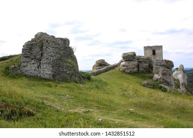 Ruins of the castle in Olsztyn, Poland. Krakow-Czestochowa Upland, the Polish Jurassic Highland or Polish Jura. Part of the Jurassic System.