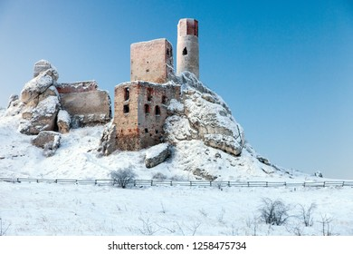 the ruins of the castle in Olsztyn in the winter, Jura Krakowsko Czestochowska region, Poland