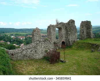 Ruins of a castle on route from Krakow to Budapest, Europe